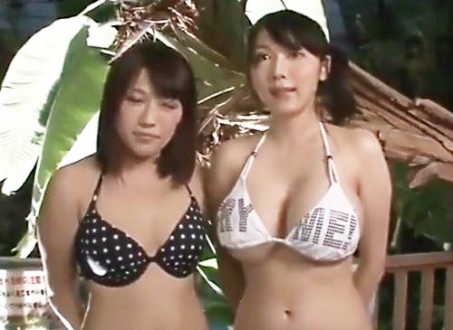 【巨乳おっぱいボロンッww】「ちょっと!なにこれ!?なんでぇ!?」溶ける水着企画でマンコ凌辱される素人ギャルww