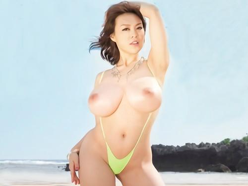 【中森玲子・引退作品】「いっぱい突いてぇ♡」ムチムチ垂れ乳・巨乳おっぱいの美魔女おばさんがビーチで青姦セックスが超抜ける!