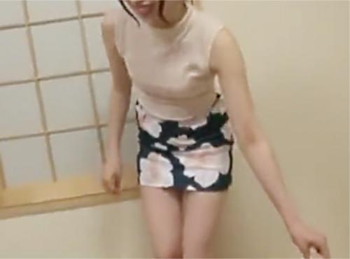 「まだ出る?もう1回♡♡」タイトスカートにノースリーブの露出度高いスレンダー美乳おっぱい素人人妻に膣内射精&連続生ハメ!