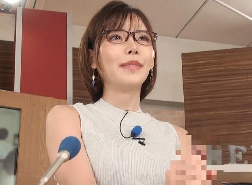 【淫語女子アナ】「金玉パンパンですよ♡♡」スレンダー巨乳おっぱいの色白・メガネ美人のお姉さんの膣内射精SEXが放送されるw