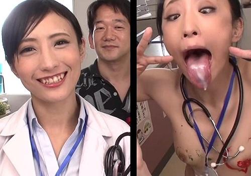 【おバカ企画】「チンポ舐めたぁぁい♡」変態妄想してるナースと女医の頭の中を可視化!美乳おっぱい女医のアへ顔ダブルピースw
